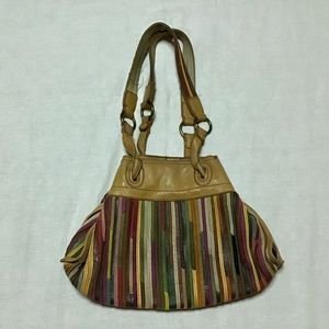 Lucky leather patchwork strips hobo purse bag